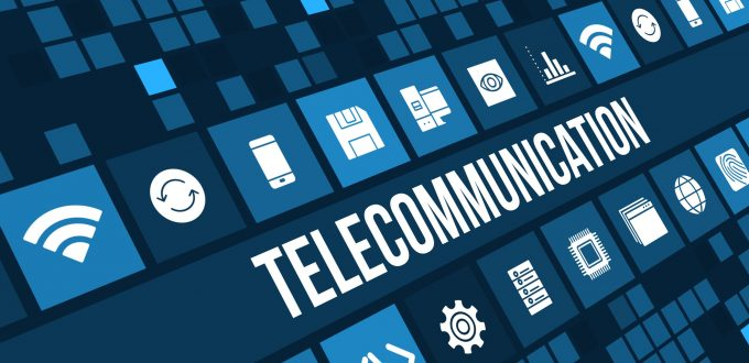 Telecommunication concept image with technology icons and copyspace